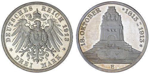 3 Mark Königreich Sachsen (1806 - 1918) Silber