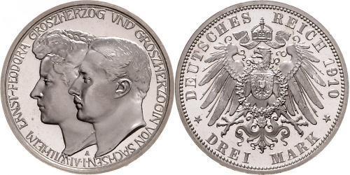 3 Mark Sachsen-Weimar-Eisenach (1809 - 1918) Silber Wilhelm Ernst (Sachsen-Weimar-Eisenach)