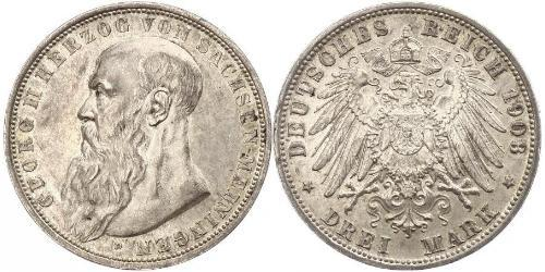 3 Mark Duchy of Saxe-Meiningen (1680 - 1918) Silver Georg II, Duke of Saxe-Meiningen