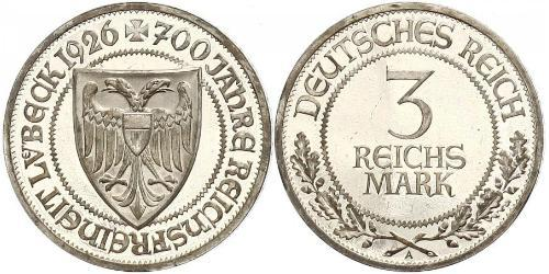 3 Mark Free City of Lübeck Silver
