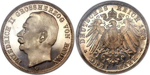 3 Mark Grand Duchy of Baden (1806-1918) Silver Frederick II, Grand Duke of Baden (1857 - 1928)
