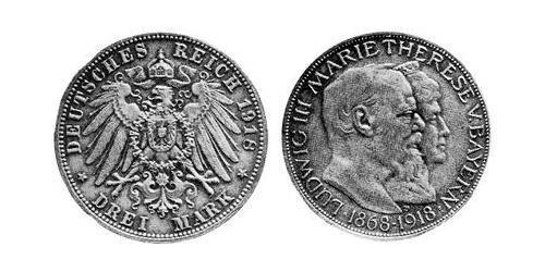 3 Mark Kingdom of Bavaria (1806 - 1918) Silver