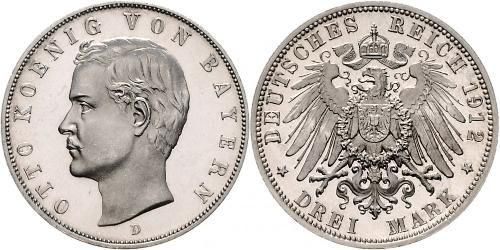 3 Mark Kingdom of Bavaria (1806 - 1918) Silver Otto of Bavaria (1848 – 1916)