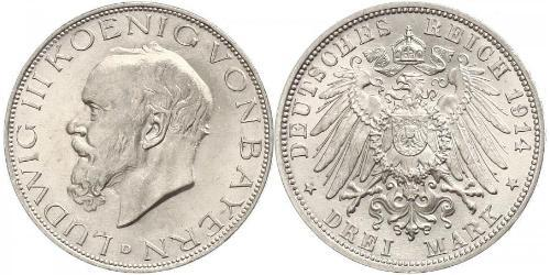 3 Mark Kingdom of Bavaria (1806 - 1918) Silver Ludwig III of Bavaria (1845 – 1921)