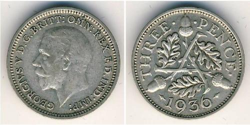 3 Penny Reino Unido (1922-) Plata Jorge V (1865-1936)