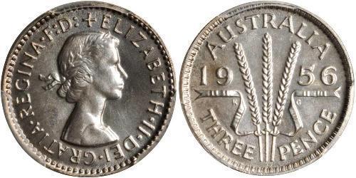 3 Penny Australia (1939 - )  Isabel II (1926-)