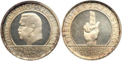 3 Reichsmark Alemania Plata