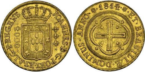 4000 Reis Brasile Oro Giovanni VI del Portogallo (1767-1826)