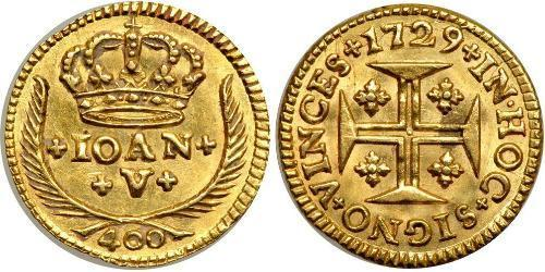 400 Reis Kingdom of Portugal (1139-1910) Gold John V of Portugal (1689-1750)
