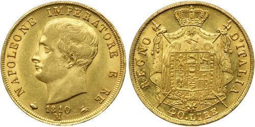 40 Лира Королевство Италия (наполеоновское) (1805–1814) Золото Наполеон I(1769 - 1821)