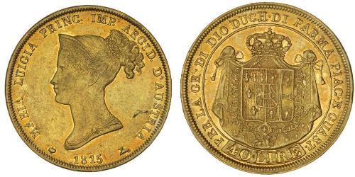 40 Ліра https://en.wikipedia.org/wiki/Duchy_of_Parma (1545 - 1859) / Італія Золото Марія-Луїза Австрійська