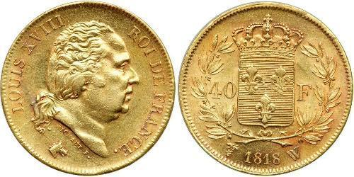 40 Franc Kingdom of France (1815-1830) Oro Luigi XVIII di Francia (1755-1824)