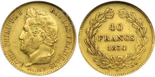 40 Franc Monarchia di Luglio (1830-1848) Oro Luigi Filippo di Francia (1773 -1850)