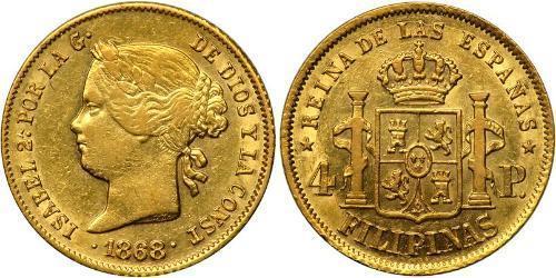 4 Песо Філіппіни Золото Isabella II of Spain (1830- 1904)