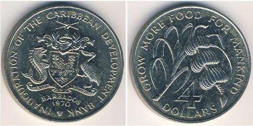 4 Dólar Barbados Níquel/Cobre