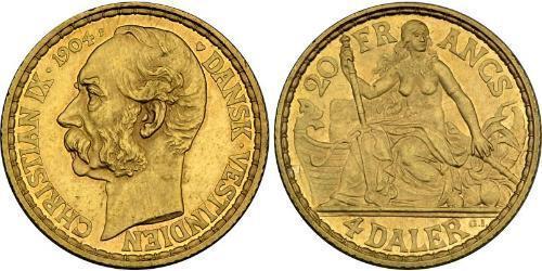 4 Daler / 20 Franc 丹麦 金 克里斯蒂安九世 (1818-1906)