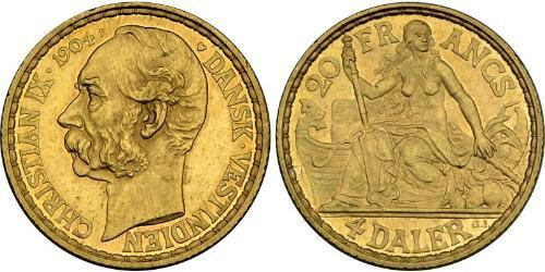 4 Daler / 20 Franc Danemark Or Christian IX de Danemark (1818-1906)