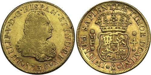4 Escudo 新西班牙總督轄區 (1535 - 1821) 金 Philip V of Spain(1683-1746)