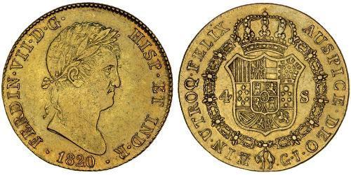 4 Escudo Kingdom of Spain (1814 - 1873) Or Ferdinand VII d