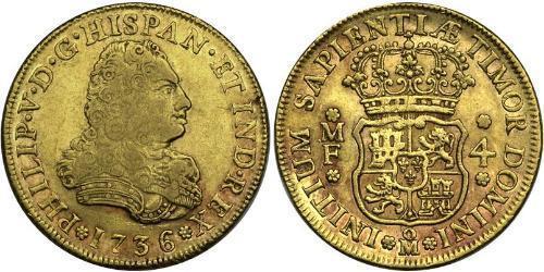 4 Escudo Virreinato de Nueva España (1519 - 1821) Oro Felipe V de España (1683-1746)