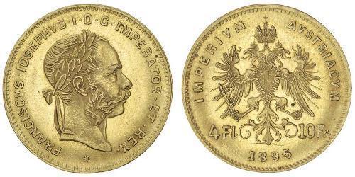 4 Florin Imperio austrohúngaro (1867-1918) Oro Franz Joseph I (1830 - 1916)