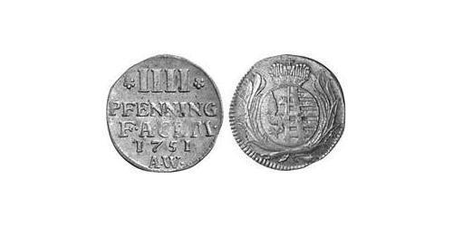 4 Pfennig Principality of Anhalt-Köthen (1603 -1853) Billon Augustus Louis, Prince of Anhalt-Köthen (1697 – 1755)