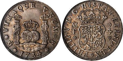 4 Real 新西班牙總督轄區 (1535 - 1821) 銀 Philip V of Spain(1683-1746)