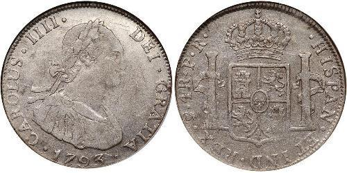 4 Real Spanish Colonies Argento Carlo IV di Spagna (1748-1819)