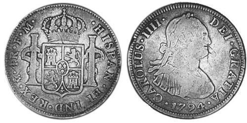 4 Real Spanish Mexico  / Kingdom of New Spain (1519 - 1821) Silver Charles IV of Spain (1748-1819)