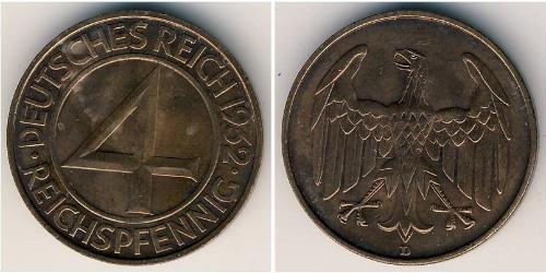 4 Reichpfennig Weimar Republic (1918-1933) Bronze