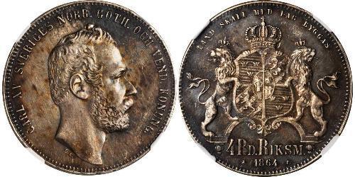 4 Riksdaler 瑞典-挪威联盟 (1814 - 1905) 銀 卡爾十五世 (1826 - 1872)