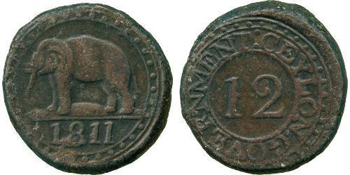 4 Stiver / 1/12 Rixdollar Sri Lanka Cobre Jorge III (1738-1820)