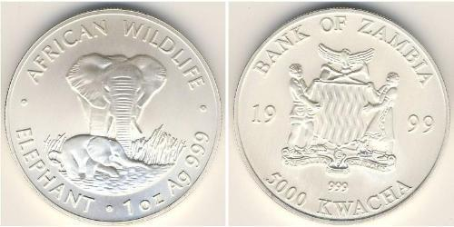5000 Квача Замбия (1964 - ) Серебро