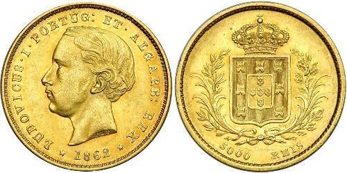 5000 Reis Regno del Portogallo (1139-1910) Oro Luigi del Portogallo (1838 - 1889)