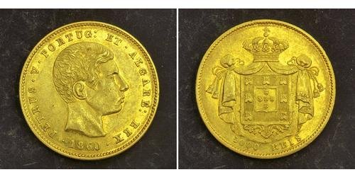 5000 Reis Reino de Portugal (1139-1910) Oro Peter V of Portugal (1837-1861)