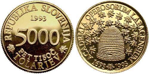 5000 Tolar Slovenia Gold