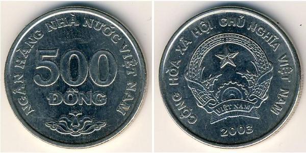 500 Dong Vietnam Nickel plated steel