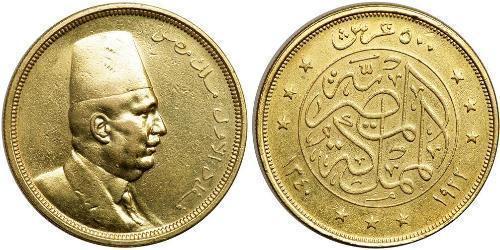 500 Piastre Egitto (1953 - ) Oro Fuad I d