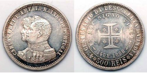 500 Reis 葡萄牙王國 (1139 - 1910) 銀 卡洛斯一世 (葡萄牙)