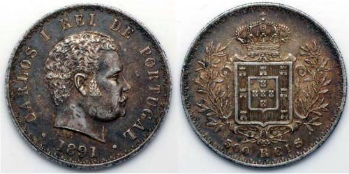 500 Reis Kingdom of Portugal (1139-1910) Silber  Karl I. von Portugal (1863-1908)