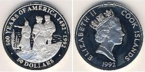 50 Доллар Острова Кука Серебро