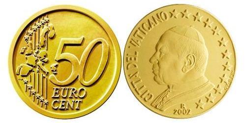 50 Евроцент Ватикан (1926-) Алюминий/Цинк/Олово/Медь Иоанн Павел II (1920 - 2005)