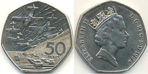 50 Пенни Великобритания (1922-) Никель/Медь Елизавета II (1926-)