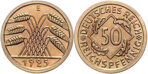 50 Рейхспфеніг / 50 Пфеніг Веймарська республіка (1918-1933) Латунь