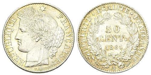 50 Сантим Третья французская республика (1870-1940)  Серебро