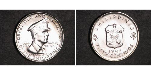 50 Сентаво Филиппины Серебро Douglas MacArthur (1880 - 1964)