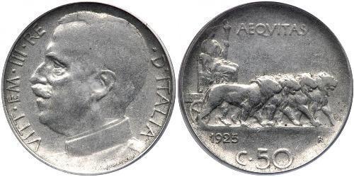 50 Сентесимо Kingdom of Italy (1861-1946) Никель Виктор Эммануил III (1869 - 1947)