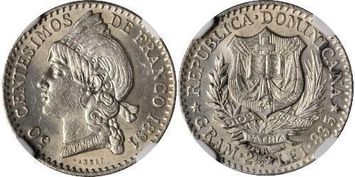 50 Сентесимо Доминиканская Республика Серебро