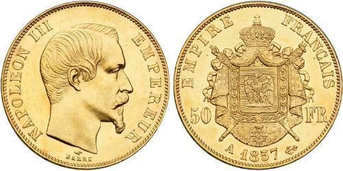 50 Франк Вторая французская империя (1852-1870) Золото Наполеон III Бонапарт (1808-1873)