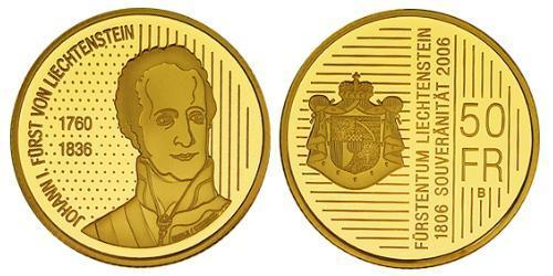 50 Франк Лихтенштейн Золото
